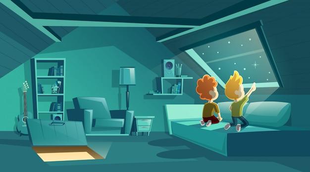 2人の子供が星を見ている夜の屋根裏のインテリア、家具付きの漫画の部屋 無料ベクター