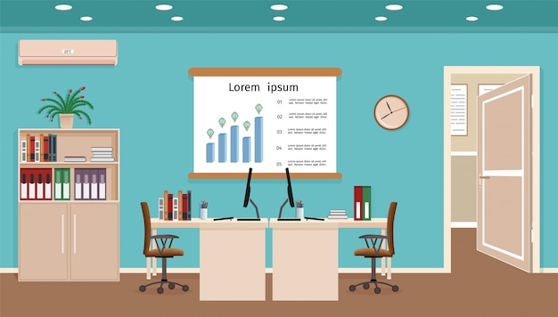 2つのワークスペースを備えたオフィスルームのインテリア Premiumベクター