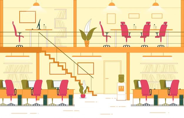 ビジネスインテリア2レベルオフィス漫画。 Premiumベクター