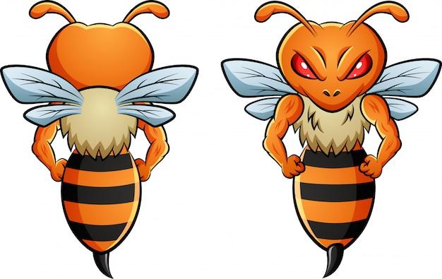 2つの異なる側面を持つ蜂のマスコット。 Premiumベクター