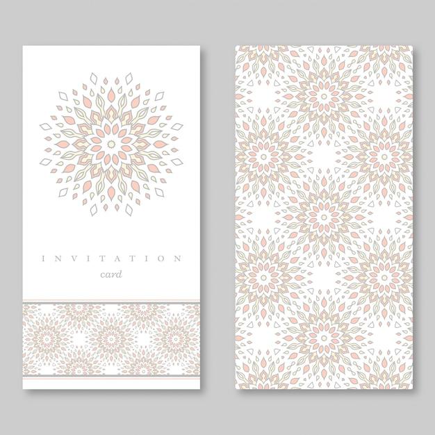 結婚式の招待状の2枚のカードのセット Premiumベクター