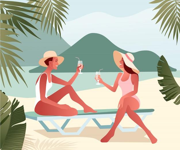 夏帽子の2人の若い女の子は、ビーチでチャットとカクテルを飲みます。海の近くの女性キャラクター。 Premiumベクター