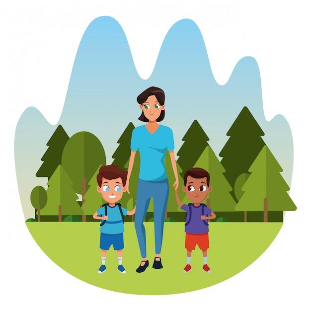 2人の子供を持つ家族のシングルマザー Premiumベクター