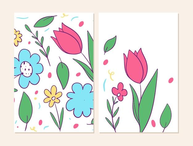 花模様の2つのカバー。 Premiumベクター