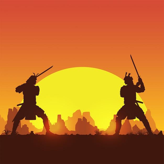 2つの日本の武士の剣の戦い、イラストのシルエット Premiumベクター