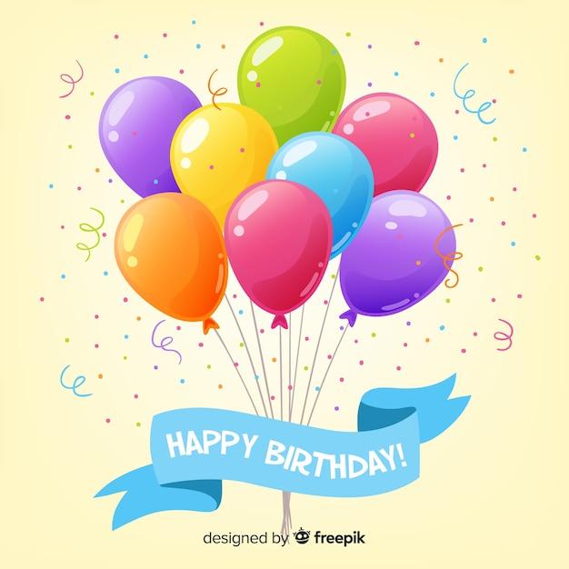 2-й день рождения с фоном воздушных шаров Бесплатные векторы
