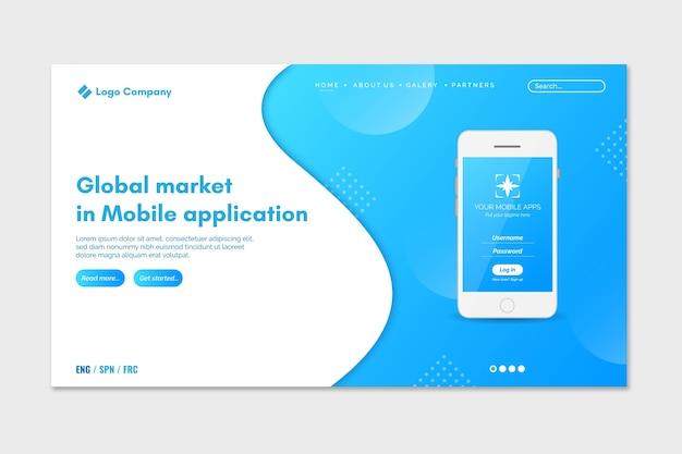 スマートフォンを使用した2色のランディングページ 無料ベクター