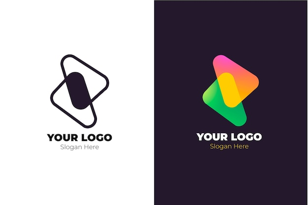 2つのバージョンの概念の抽象的なロゴ 無料ベクター