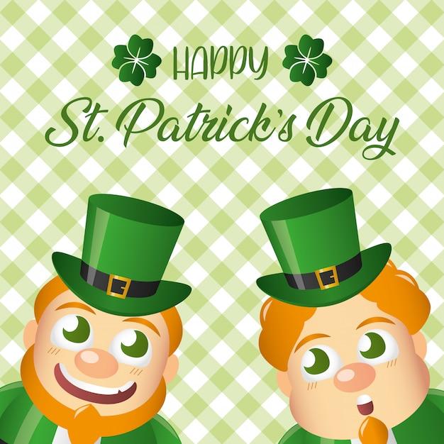 笑顔の2つのアイルランドのレプラコーン、聖パトリックの日グリーティングカード 無料ベクター