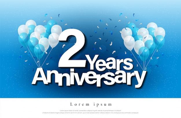 2年目の記念日グリーティングカードのレタリング Premiumベクター
