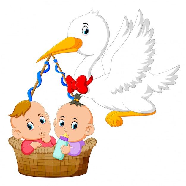 コウノトリはその中に2人の赤ちゃんと一緒にバスケットを持っています。 Premiumベクター