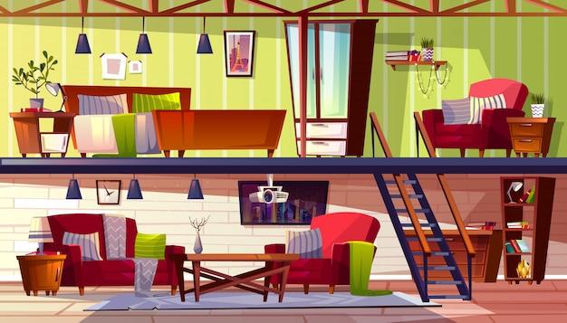 ベッドルームとキャビネットのロフトラウンジまたは2階建ての室内のイラスト。 無料ベクター