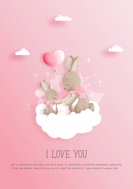 Валентинка с 2 милыми зайчиками, открытка ко дню матери. Premium векторы
