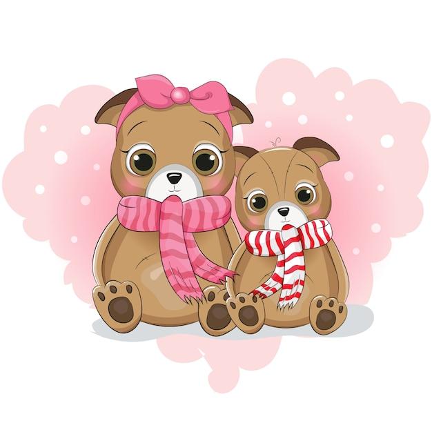 背景の心に2つのかわいい子犬の漫画 Premiumベクター