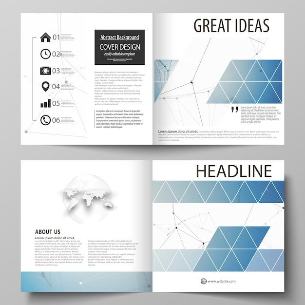 正方形の2つ折りパンフレット、雑誌、チラシのビジネステンプレート Premiumベクター