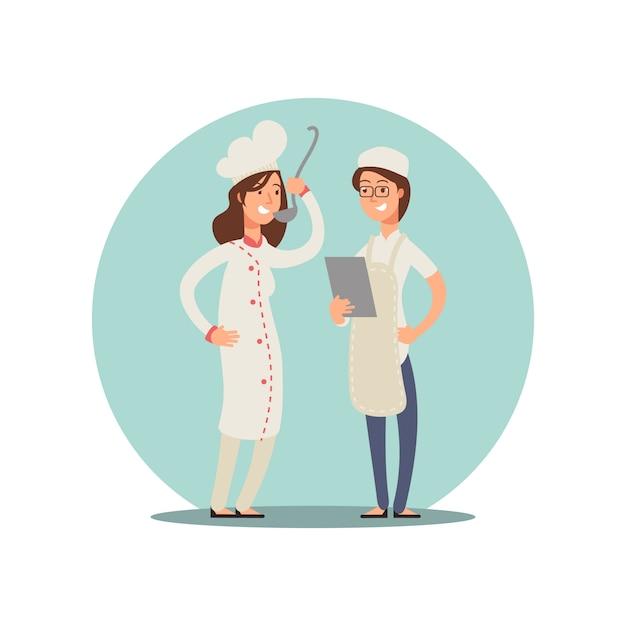 食べ物を味見する2人の笑顔のシェフ。プロの料理人漫画キャラクターデザイン Premiumベクター