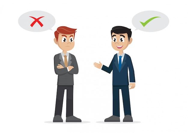 2つのビジネスマンは反対の考え Premiumベクター