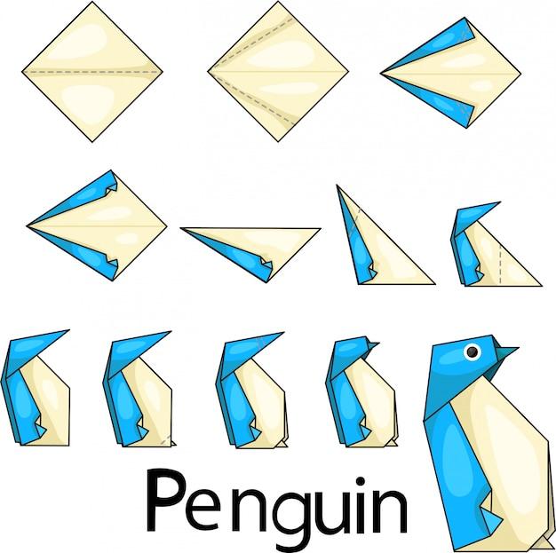折り紙ペンキン2のイラストレーター Premiumベクター