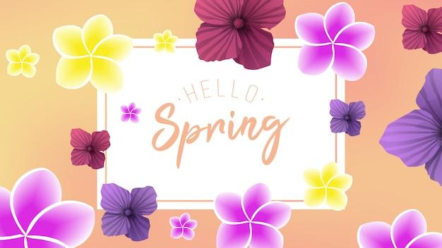 Весенний фон с 2 цветами Premium векторы