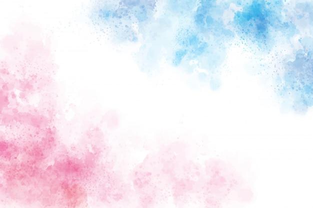 2トーンブルーとピンクの水彩ウォッシュスプラッシュバックグラウンド Premiumベクター