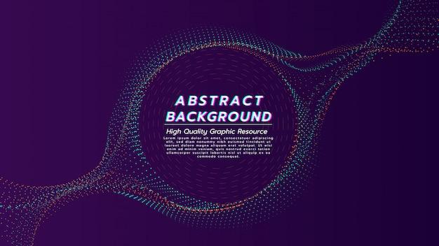 Абстрактная предпосылка от потока частиц в цвете 2 тонов с космосом текста в форме круга. Premium векторы