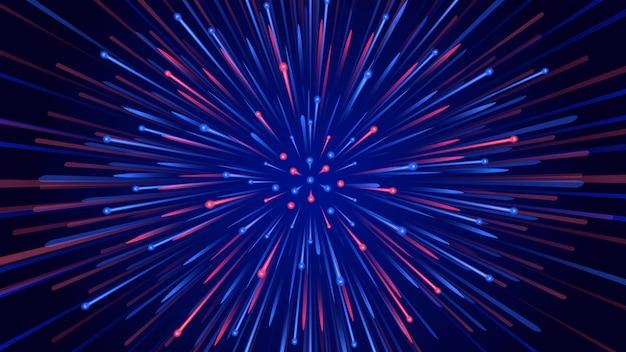 高速で広がる2トーンの粒子と抽象的な背景。技術とサイバーの概念についての図。 Premiumベクター
