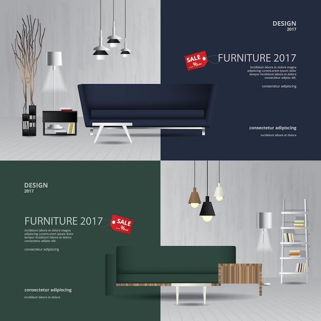 2バナー家具販売デザインテンプレートのベクトル図 Premiumベクター