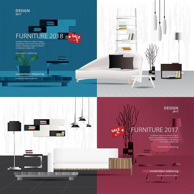 2バナー家具販売デザインテンプレートベクトルイラスト Premiumベクター