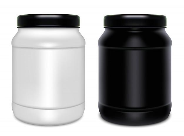 2つのプラスチック缶 Premiumベクター