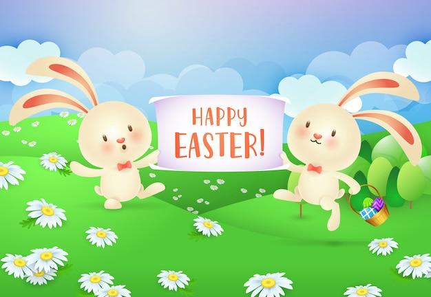 2つの陽気なウサギによって開催されたバナーにハッピーイースターのレタリング 無料ベクター