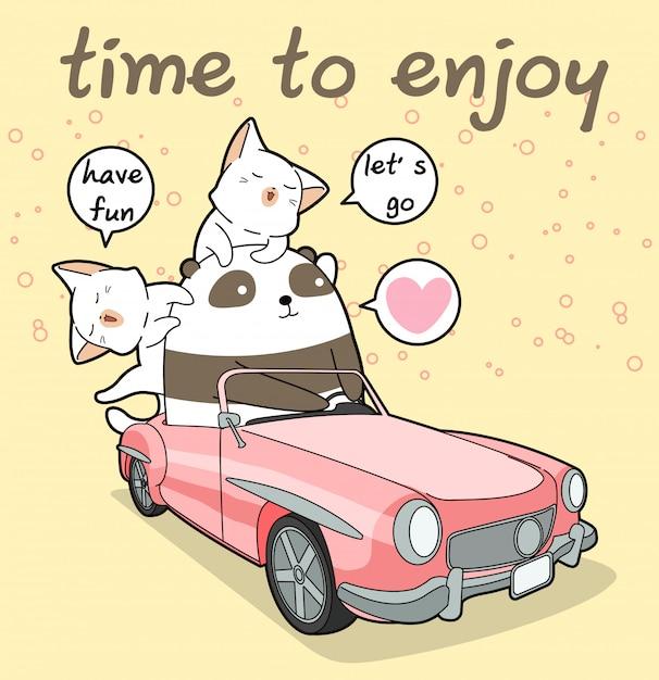 Каваи панда за рулем розовой машины с 2 кошками Premium векторы