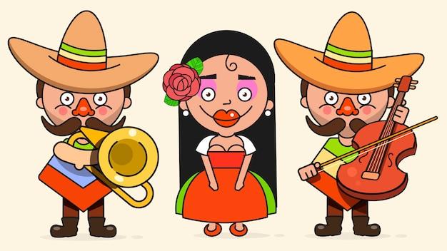 2人の男性とネイティブの服とソンブレロフラットベクトルでギターを持つ女性とメキシコのミュージシャンベクトルイラスト Premiumベクター
