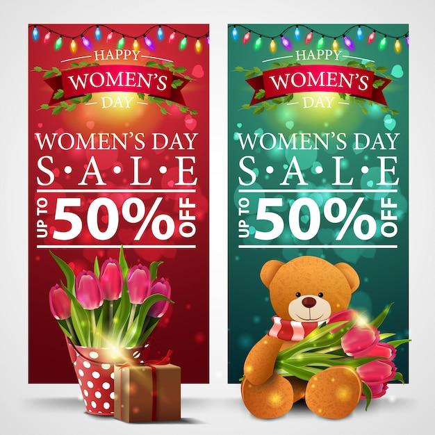 ガーランドと女性の日のための2つの割引バナー Premiumベクター