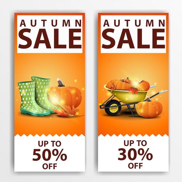 秋のセール、2つの垂直割引バナー\ Premiumベクター