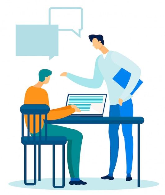 2人のマネージャー、リーダーおよび従業員がオフィスで話す Premiumベクター