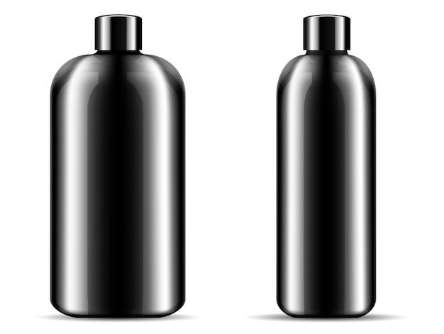 2つの光沢のある黒いガラスまたはプラスチックボトルセット Premiumベクター