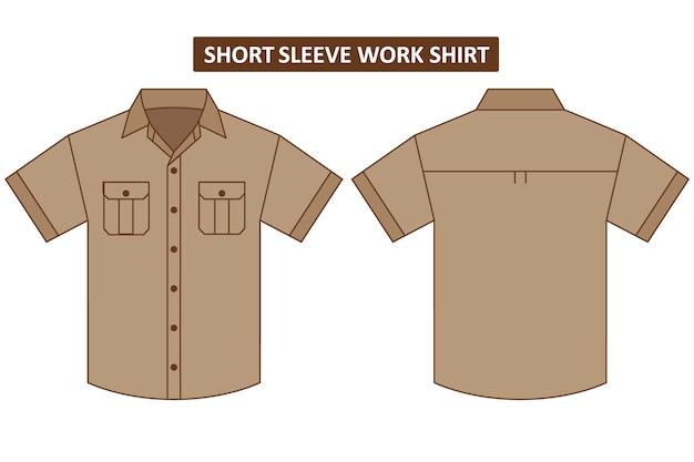 胸ポケットが2つ付いた半袖ワークシャツ Premiumベクター