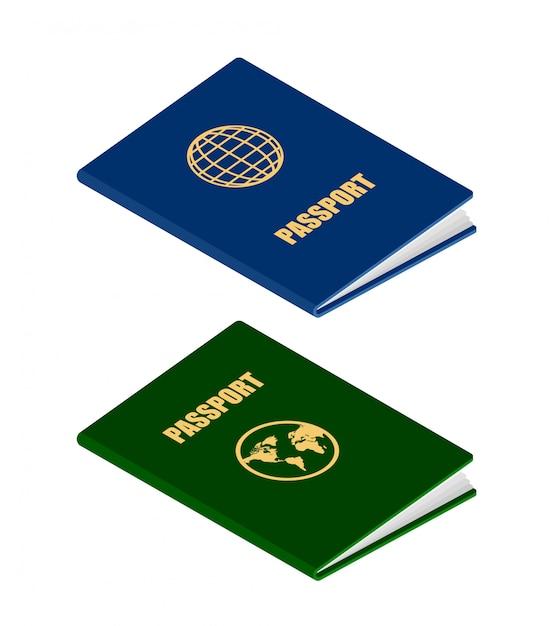 アイソメ図スタイルの2つのパスポート Premiumベクター