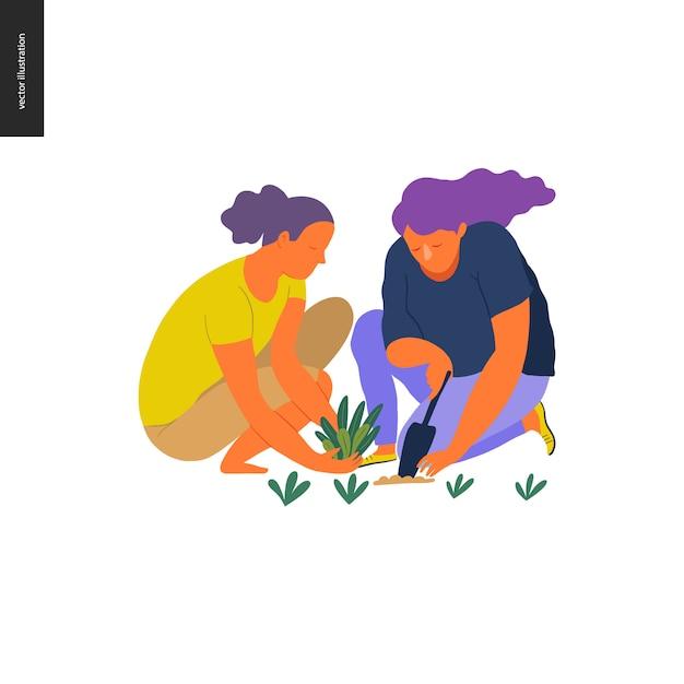 人夏のガーデニング -  2人の若い女性のフラットベクトル概念図 Premiumベクター