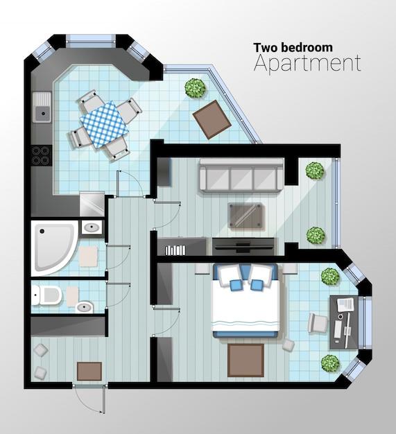 モダンな2ベッドルームのアパートのベクトル平面図。キッチン、バスルーム、寝室と組み合わせたダイニングルームの詳細な建築計画。ホームインテリア Premiumベクター