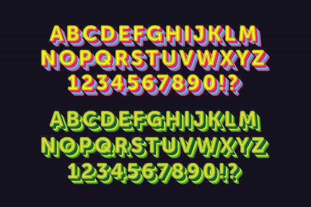Сильный жирный алфавит с 2 стиля Premium векторы