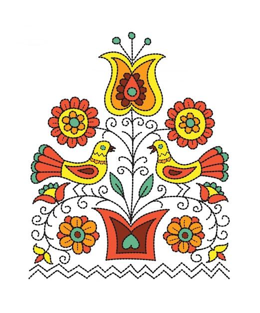 Фольклорный дизайн иллюстрации цветков в баке и 2 птиц сидя на ветвях. Premium векторы