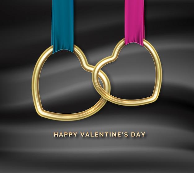 幸せなバレンタインデー。互いに接続された2つのゴールデンハート形 Premiumベクター