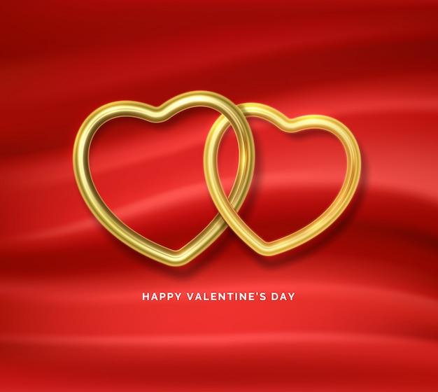 幸せなバレンタインデー。赤い絹の布で互いに接続された2つの黄金のハート形。 Premiumベクター
