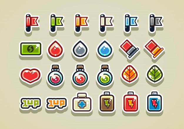 2d arcade items for a video game Premium Vector