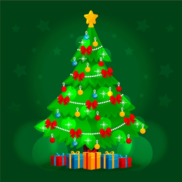 2d christmas tree background Free Vector