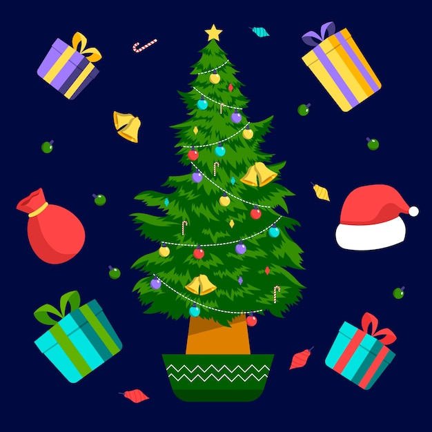 2d christmas tree with gifts Free Vector