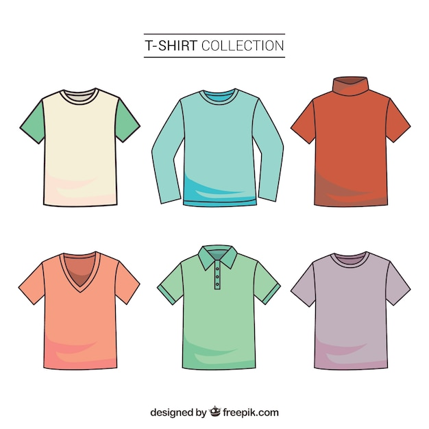 2d colorful t-shirt collection with hand drawn style Free Vector
