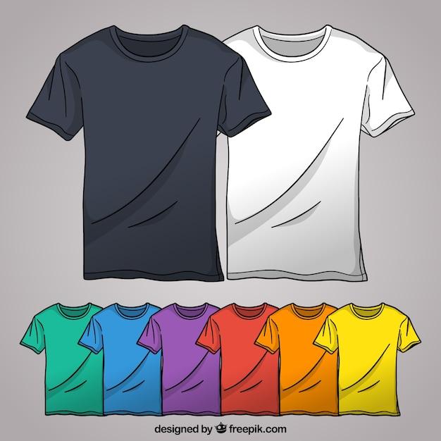 2d цветная коллекция футболок с ручным рисунком Бесплатные векторы