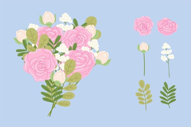 2d floral bouquet set Free Vector